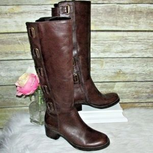 Arturo Chiang Vera Brown Leather Knee High Boots